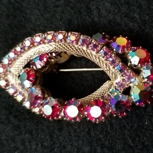 Vintage iridescent red and gold brooch or pin
